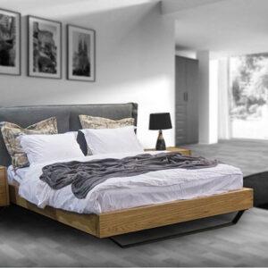 Ξύλινα κρεβάτια με υφασμάτινο κεφαλάρι